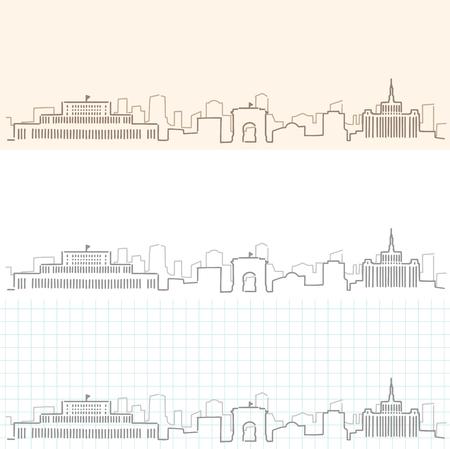 Bucharest Hand Drawn Skyline