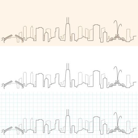 Chicago Hand Drawn Skyline