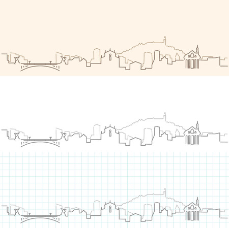 Ljubljana Hand Drawn Skyline Illustration