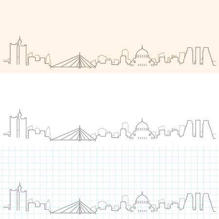 Belgrade Hand Drawn Skyline