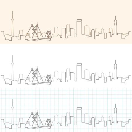 Johannesburg Hand Drawn Skyline Illustration