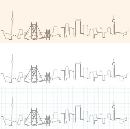 Johannesburg Hand Drawn Skyline Illustration