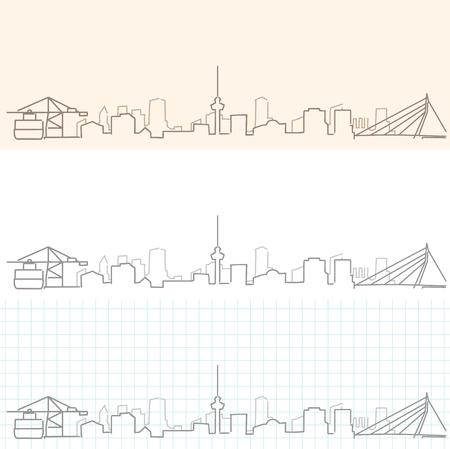 Rotterdam Hand Drawn Skyline Stock Illustratie