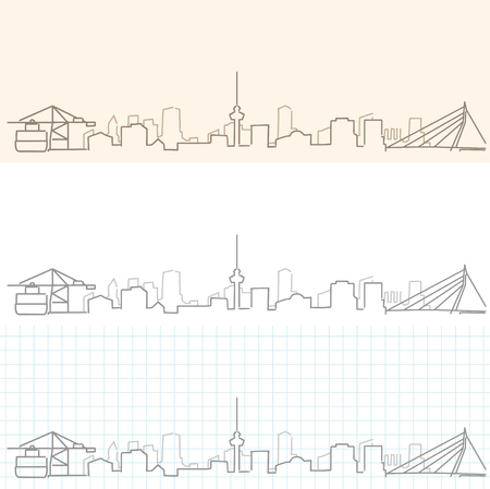 Rotterdam Hand Drawn Skyline Illustration