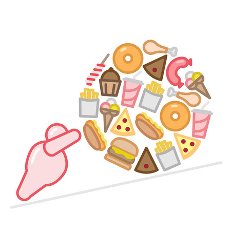 Obese figure pushing junk food ball flat icon design vector illustration Фото со стока - 90319988