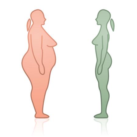 Van aangezicht tot aangezicht Dikke en magere vrouwelijke silhouetten Stock Illustratie