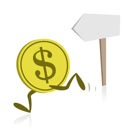 Money Running and Direction Sign Ilustração
