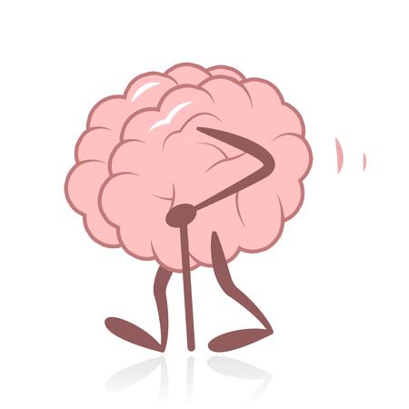 Old Brain Walking Illustration