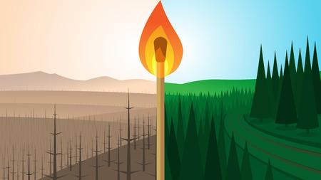 Krajobraz leśny przed i po pożarze Ilustracje wektorowe