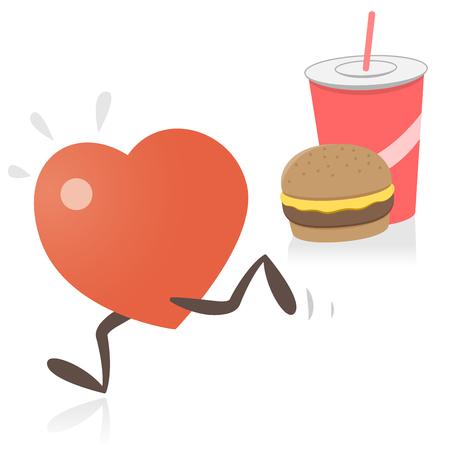 Heart Running Away From Junk Food Illustration