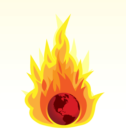 Global Warming and Earth Burning Ilustrace