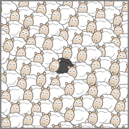 Zwart schapen in een schaapskudde