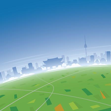 Seoul Skyline, Bird's Eye View Illustration.  イラスト・ベクター素材