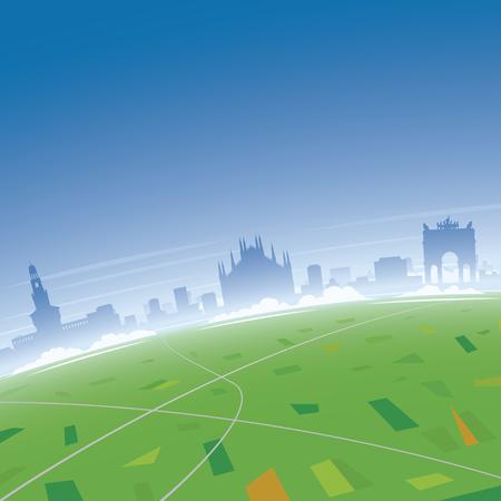 Milan Skyline, Bird's Eye View Illustration.