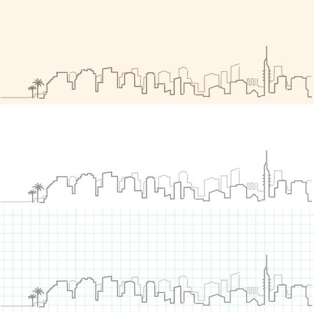 Tel Aviv hand drawn skyline.
