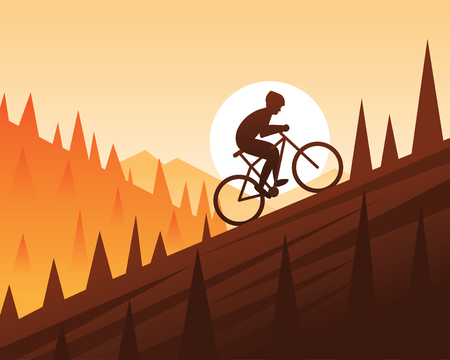 Mountain Bike Climbing Scene illustration.