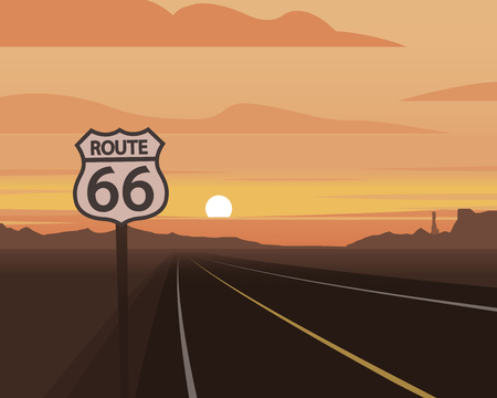 Route 66 and Sunset Scene