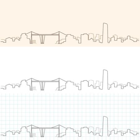 Bilbao Hand Drawn Skyline pattern design