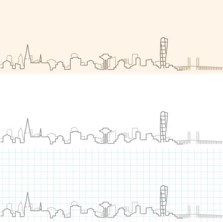 Malmo Hand Drawn Skyline pattern design