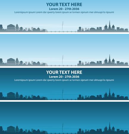 Projeto de Banner de evento de Skyline de Genebra Ilustración de vector