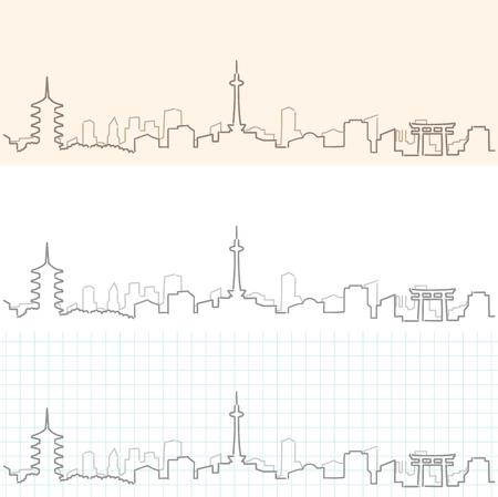 京都手描きスカイラインデザイン