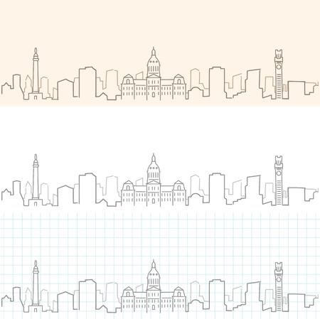 Baltimore Hand Drawn Skyline 向量圖像