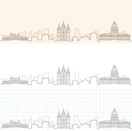 Salt Lake City Hand Drawn Skyline 版權商用圖片 - 94187826