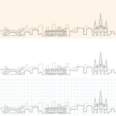 New Orleans Hand Drawn Skyline. Illustration