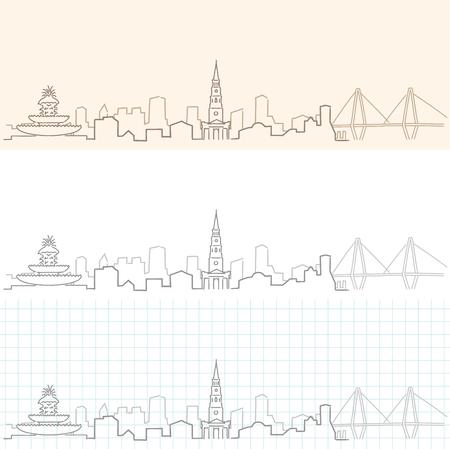 チャールストン手描きのスカイライン。  イラスト・ベクター素材