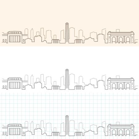 カンザスシティ手描きスカイライン。