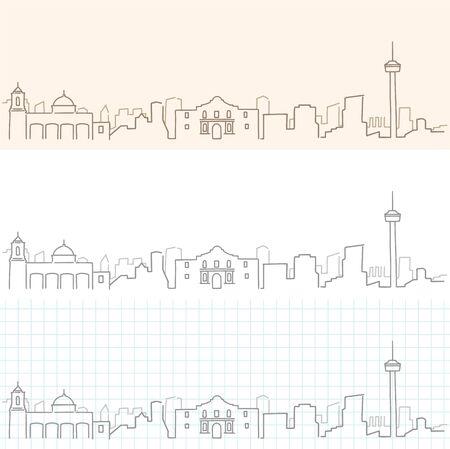 サンアントニオ手描きスカイライン。  イラスト・ベクター素材