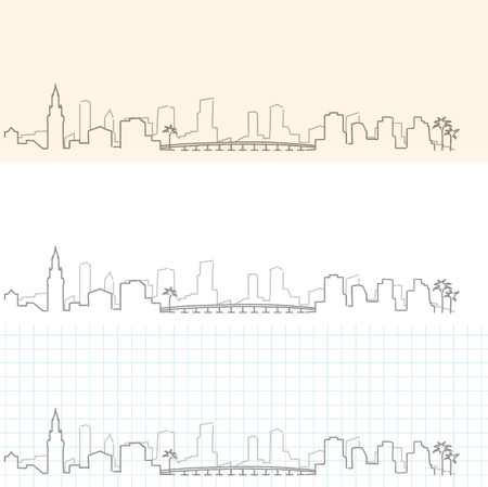Miami Hand Drawn Skyline Illustration