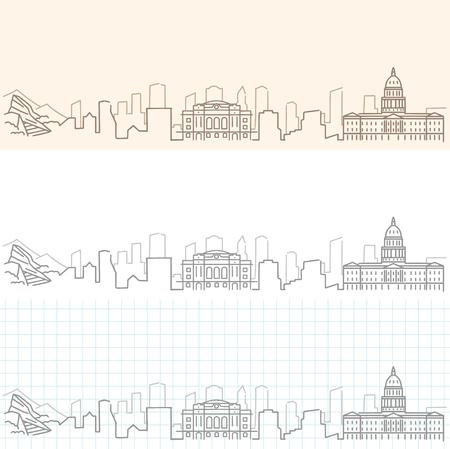 Denver Hand Drawn Skyline.