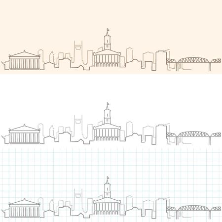 Nashville Hand Drawn Skyline. Illustration