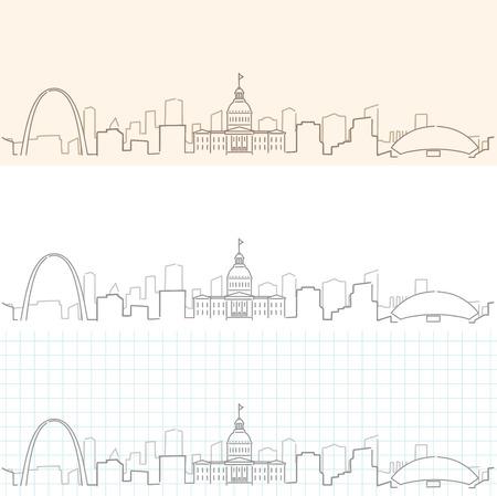Saint Louis hand drawn skyline.