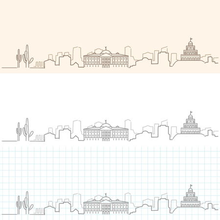City scene, Skyline, hand drawn illustration. 向量圖像
