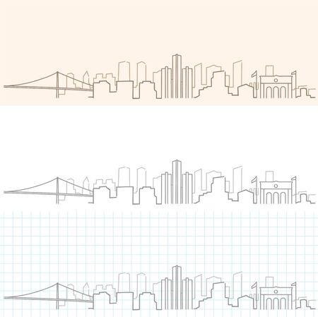 Detroit Hand Drawn Skyline. 向量圖像