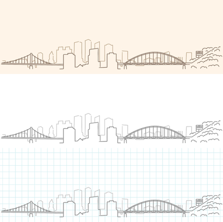 Pittsburgh Hand Drawn Skyline.