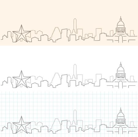 Austin Hand Drawn Skyline.