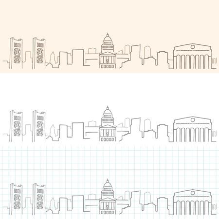 Sacramento Hand Drawn Skyline