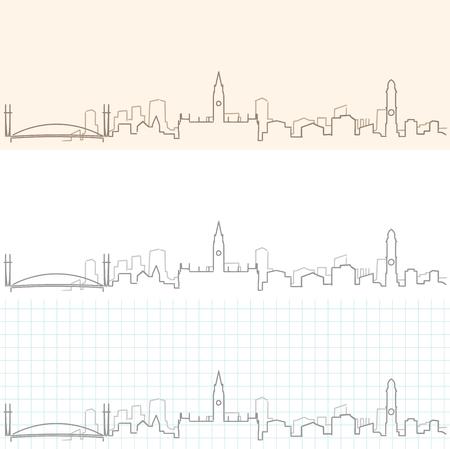 Manchester hand drawn skyline.