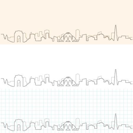 New Delhi hand drawn skyline. Ilustrace