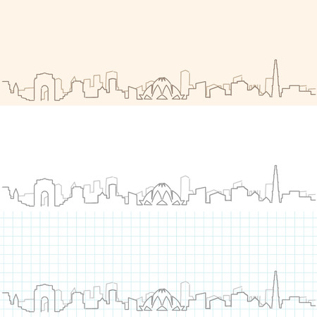 New Delhi hand drawn skyline. Illustration