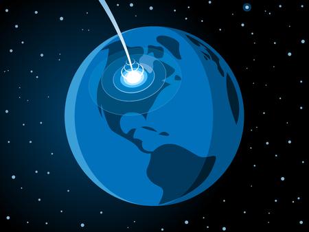 Meteorite impacting earth scene.