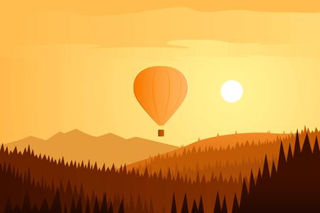 Sun Landscape and Balloon Flying
