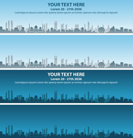 Abu Dhabi Skyline Event Banner Vector illustration.