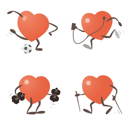 Heart Exercising and Practicing Different Sports Illustration