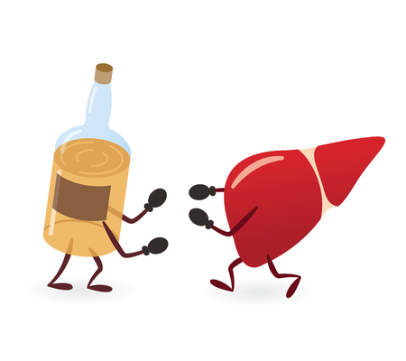 Liver and Alcoholic Drink Bottle Fighting 矢量图像
