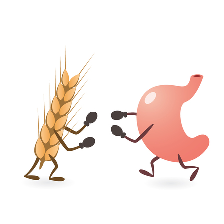 Stomach and Gluten Source Grain Fighting Illustration