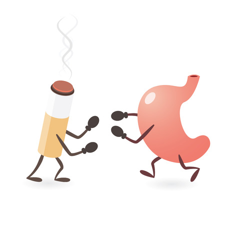 Stomach and Cigarette Fighting Ilustrace